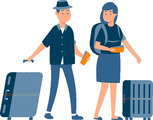 Ein Pärchen am Flughafen mit Gepäck